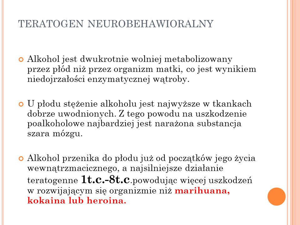 teratogen neurobehawioralny