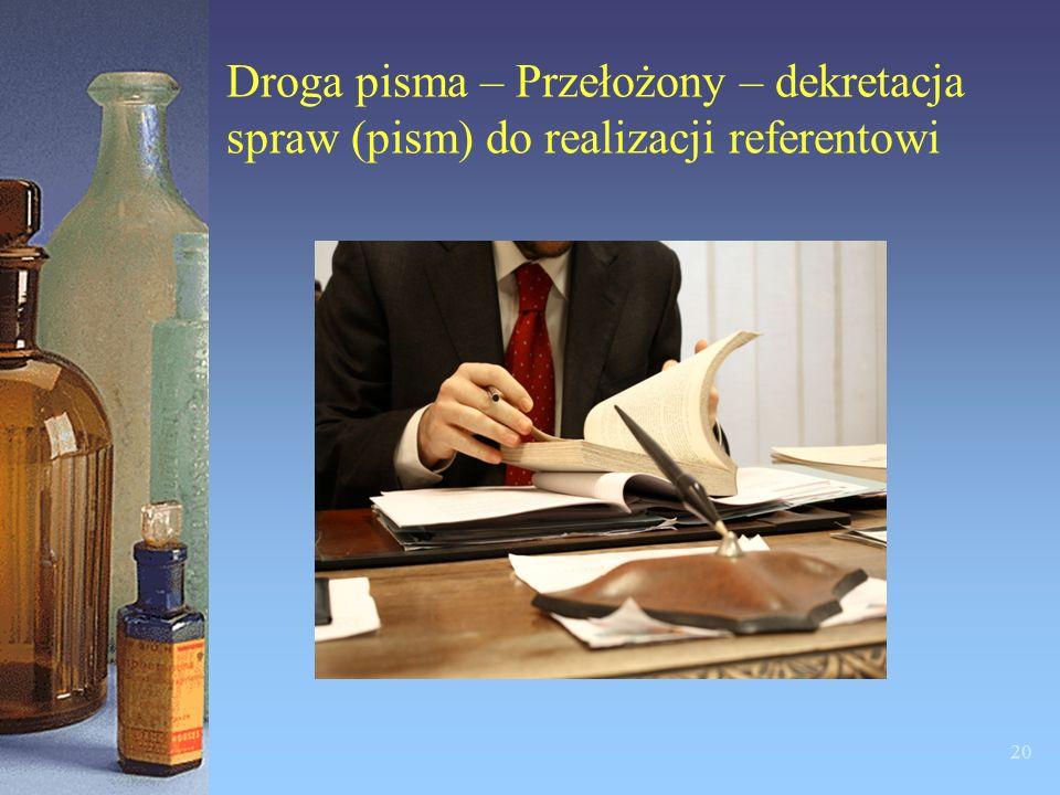 Droga pisma – Przełożony – dekretacja spraw (pism) do realizacji referentowi