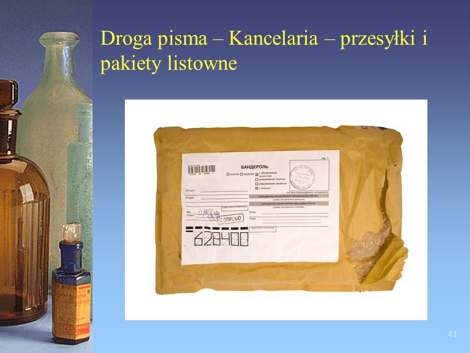 Droga pisma – Kancelaria – przesyłki i pakiety listowne