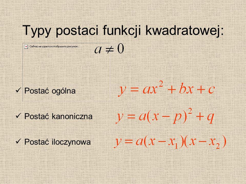 Typy postaci funkcji kwadratowej: