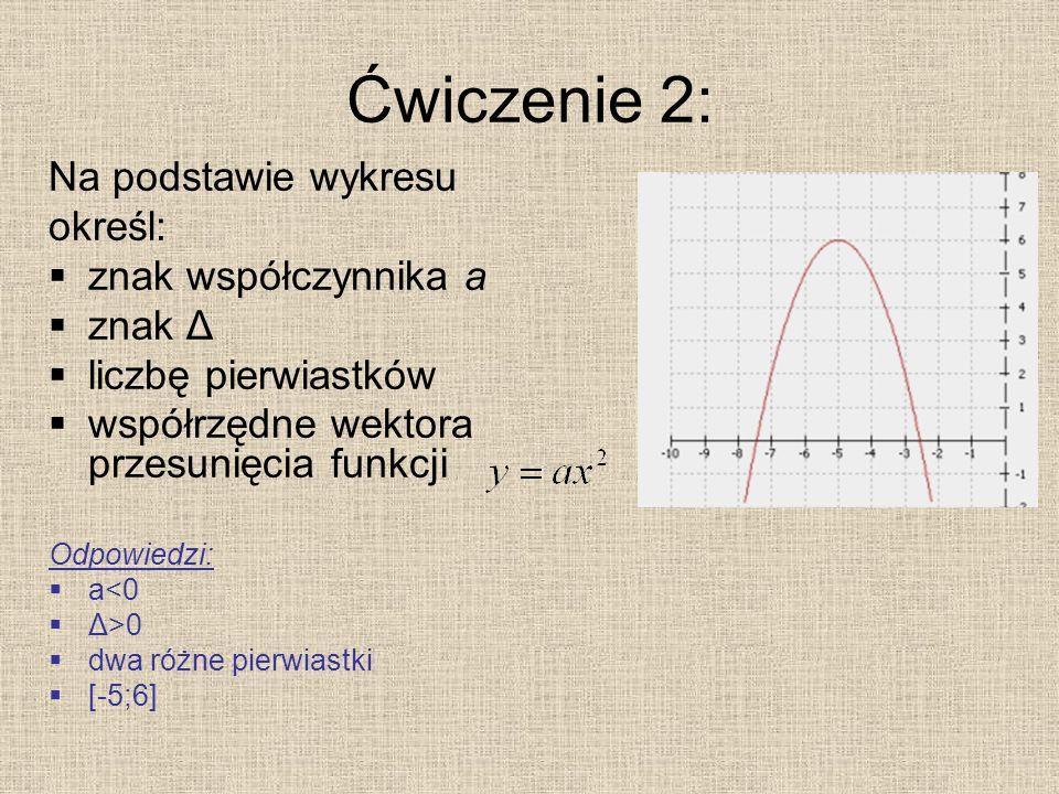 Ćwiczenie 2: Na podstawie wykresu określ: znak współczynnika a znak Δ