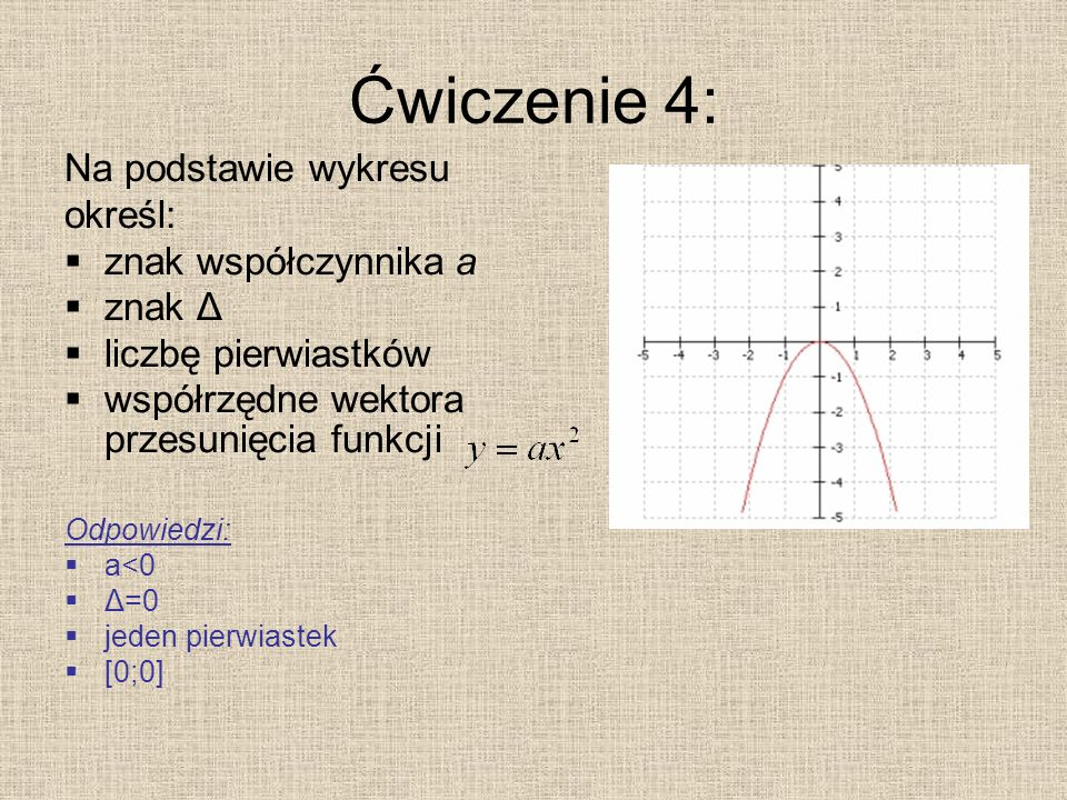 Ćwiczenie 4: Na podstawie wykresu określ: znak współczynnika a znak Δ