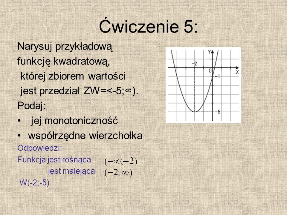 Ćwiczenie 5: Narysuj przykładową funkcję kwadratową,
