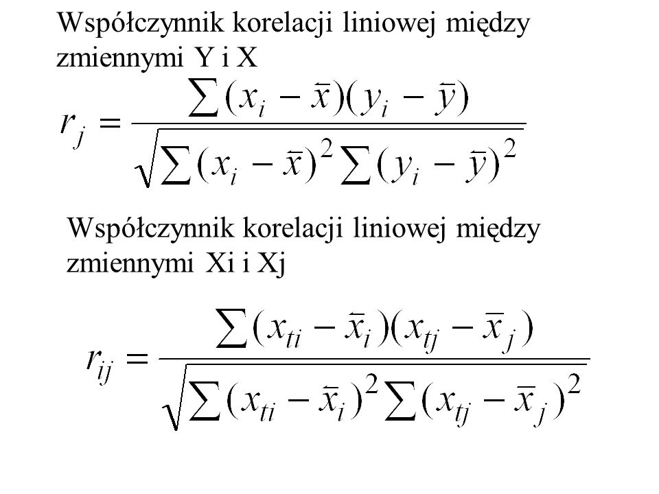 Współczynnik korelacji liniowej między zmiennymi Y i X