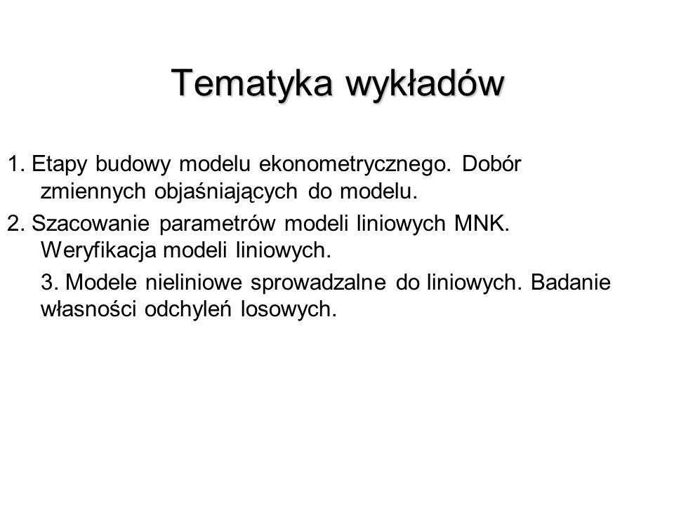 Tematyka wykładów 1. Etapy budowy modelu ekonometrycznego. Dobór zmiennych objaśniających do modelu.