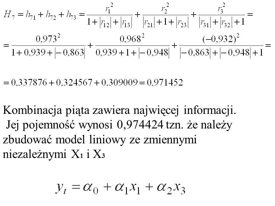 Kombinacja piąta zawiera najwięcej informacji.