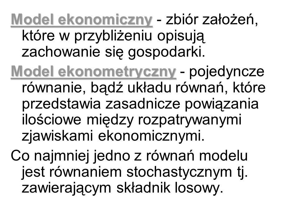 Model ekonomiczny - zbiór założeń, które w przybliżeniu opisują zachowanie się gospodarki.