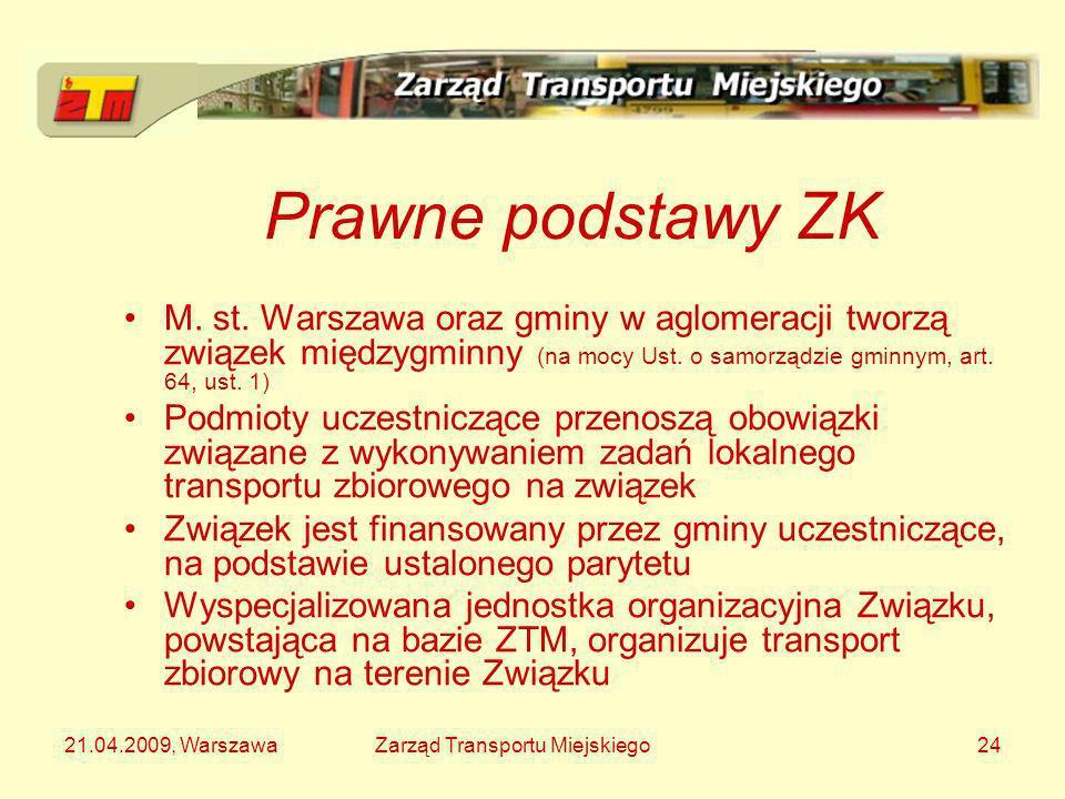 Prawne podstawy ZK M. st. Warszawa oraz gminy w aglomeracji tworzą związek międzygminny (na mocy Ust. o samorządzie gminnym, art. 64, ust. 1)