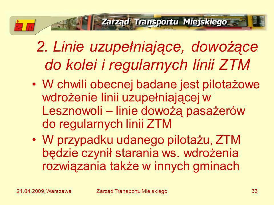 2. Linie uzupełniające, dowożące do kolei i regularnych linii ZTM