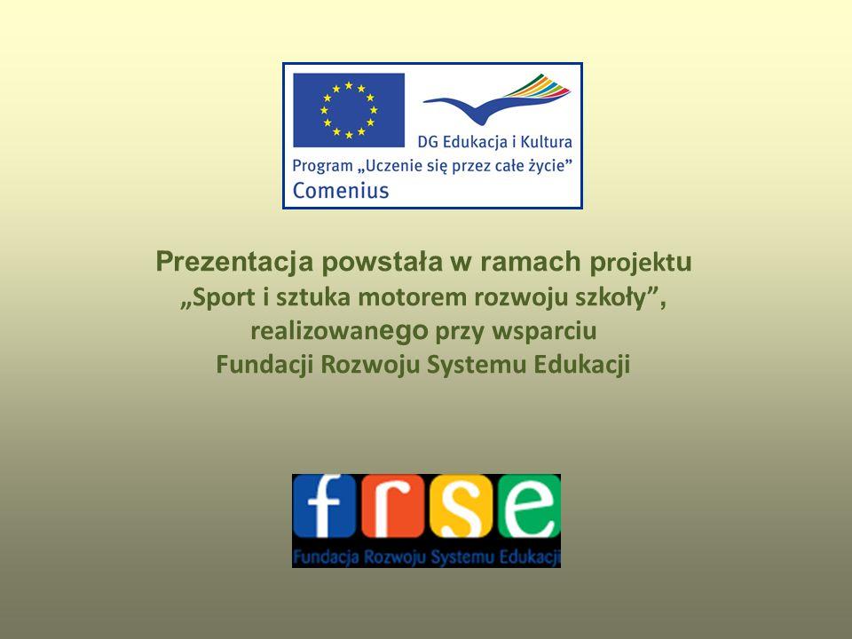 """Prezentacja powstała w ramach projektu """"Sport i sztuka motorem rozwoju szkoły , realizowanego przy wsparciu Fundacji Rozwoju Systemu Edukacji"""