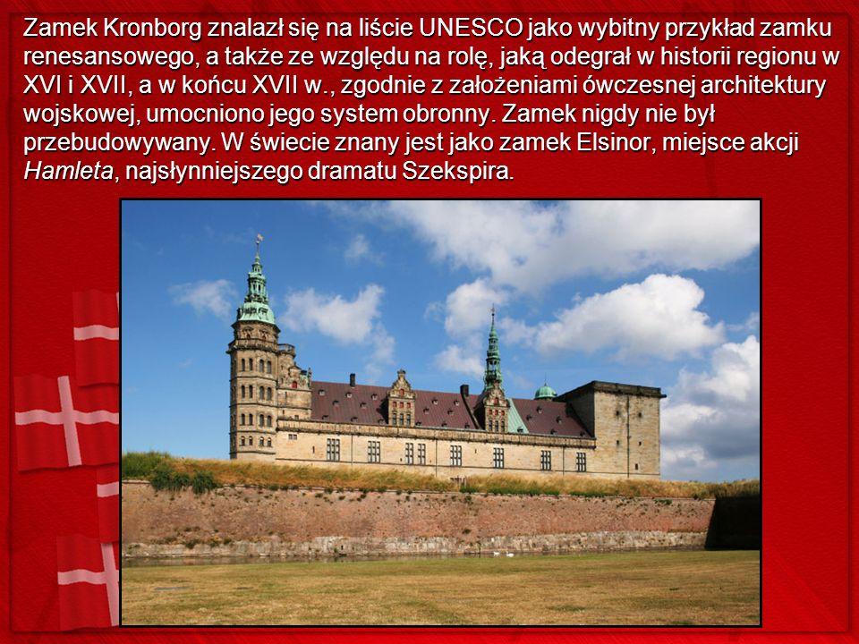 Zamek Kronborg znalazł się na liście UNESCO jako wybitny przykład zamku renesansowego, a także ze względu na rolę, jaką odegrał w historii regionu w XVI i XVII, a w końcu XVII w., zgodnie z założeniami ówczesnej architektury wojskowej, umocniono jego system obronny.