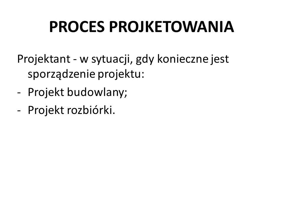 PROCES PROJKETOWANIA Projektant - w sytuacji, gdy konieczne jest sporządzenie projektu: Projekt budowlany;