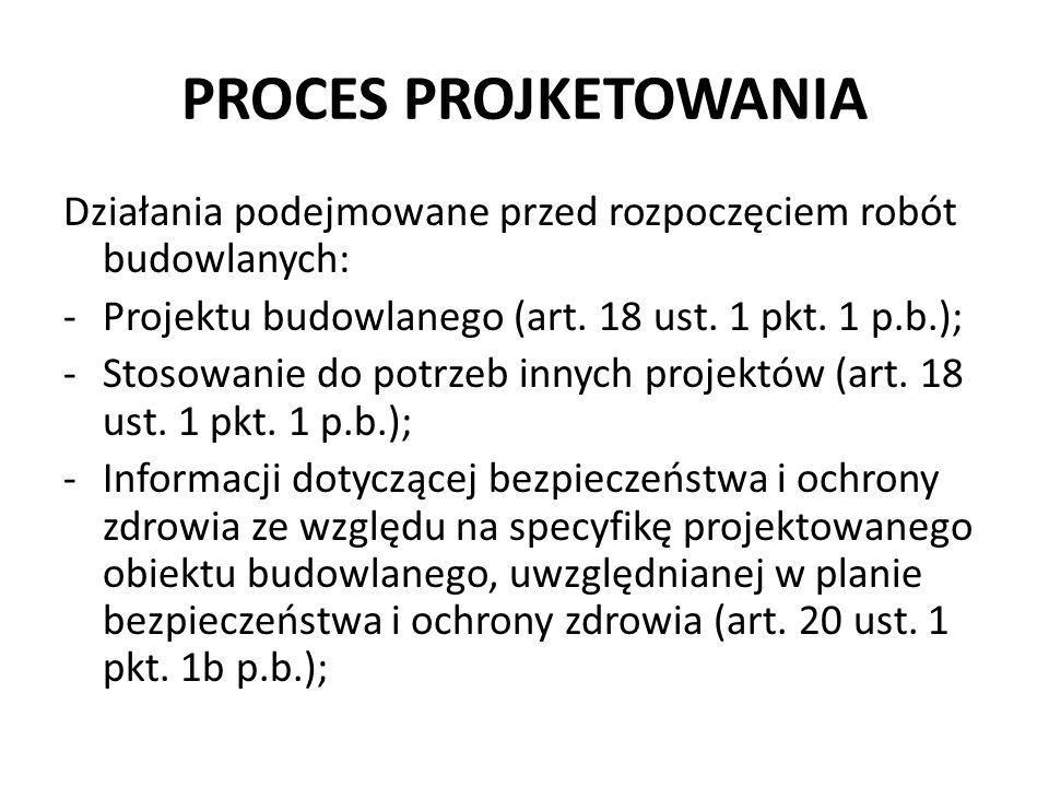 PROCES PROJKETOWANIA Działania podejmowane przed rozpoczęciem robót budowlanych: Projektu budowlanego (art. 18 ust. 1 pkt. 1 p.b.);