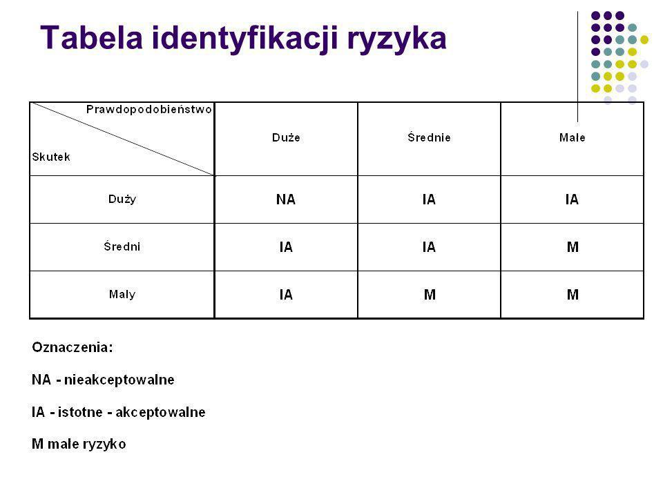 Tabela identyfikacji ryzyka