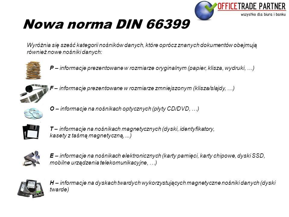 Nowa norma DIN 66399 Wyróżnia się sześć kategorii nośników danych, które oprócz znanych dokumentów obejmują również nowe nośniki danych: