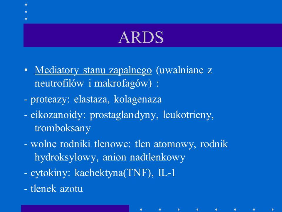 ARDS Mediatory stanu zapalnego (uwalniane z neutrofilów i makrofagów) : - proteazy: elastaza, kolagenaza.