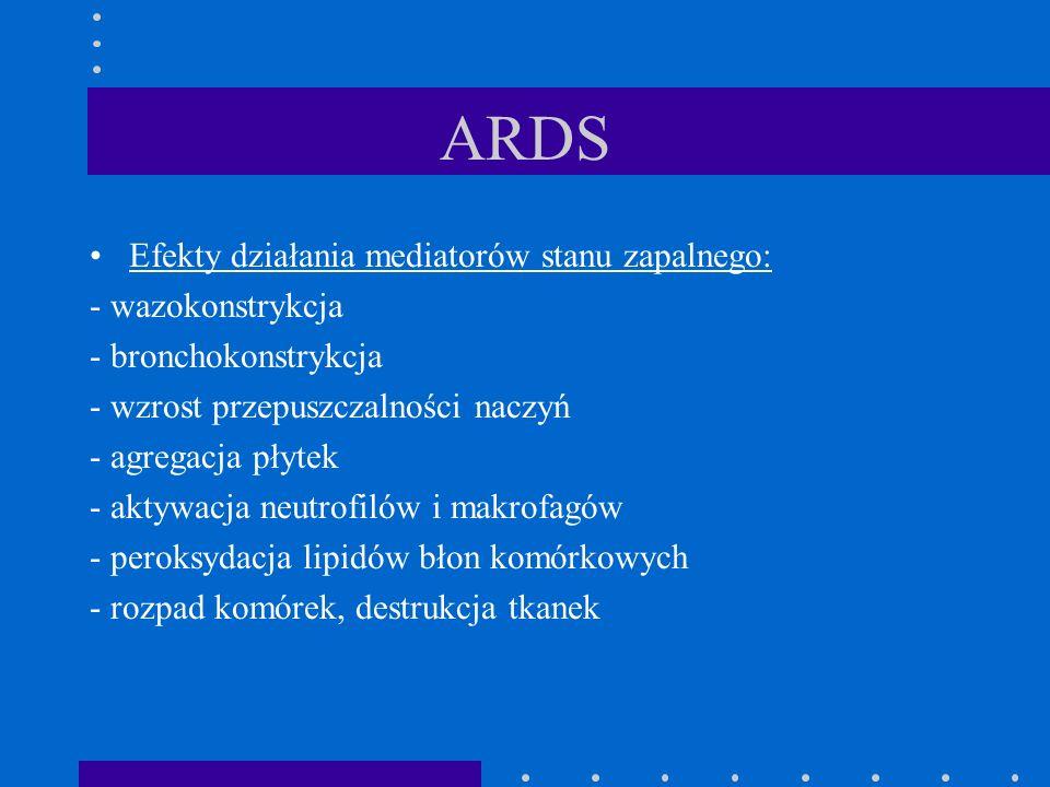 ARDS Efekty działania mediatorów stanu zapalnego: - wazokonstrykcja