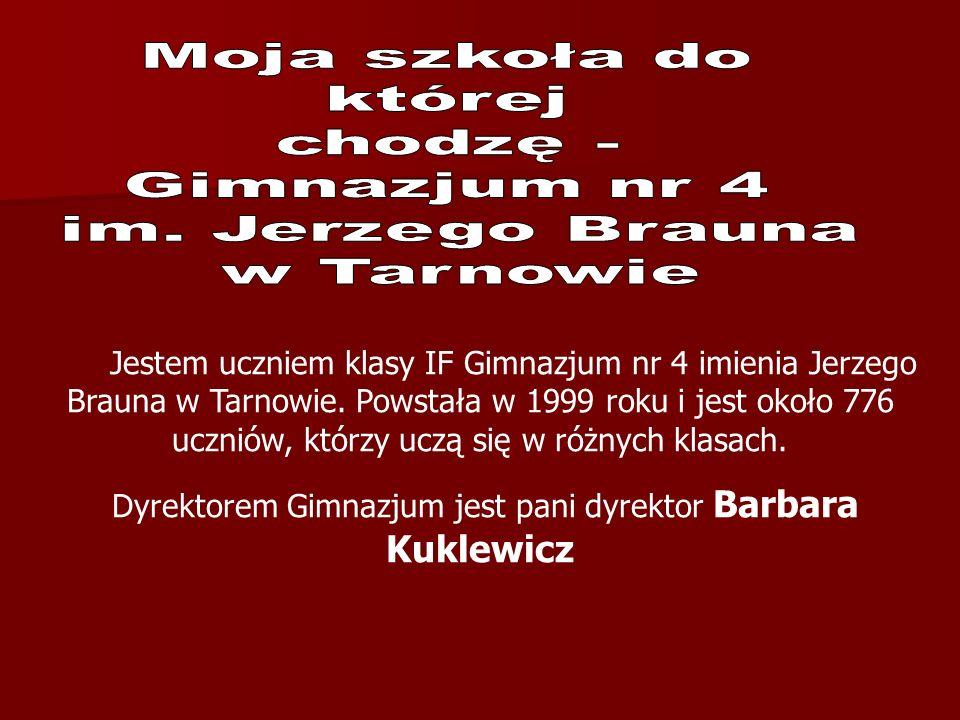 Dyrektorem Gimnazjum jest pani dyrektor Barbara Kuklewicz