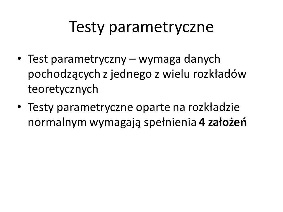 Testy parametryczne Test parametryczny – wymaga danych pochodzących z jednego z wielu rozkładów teoretycznych.