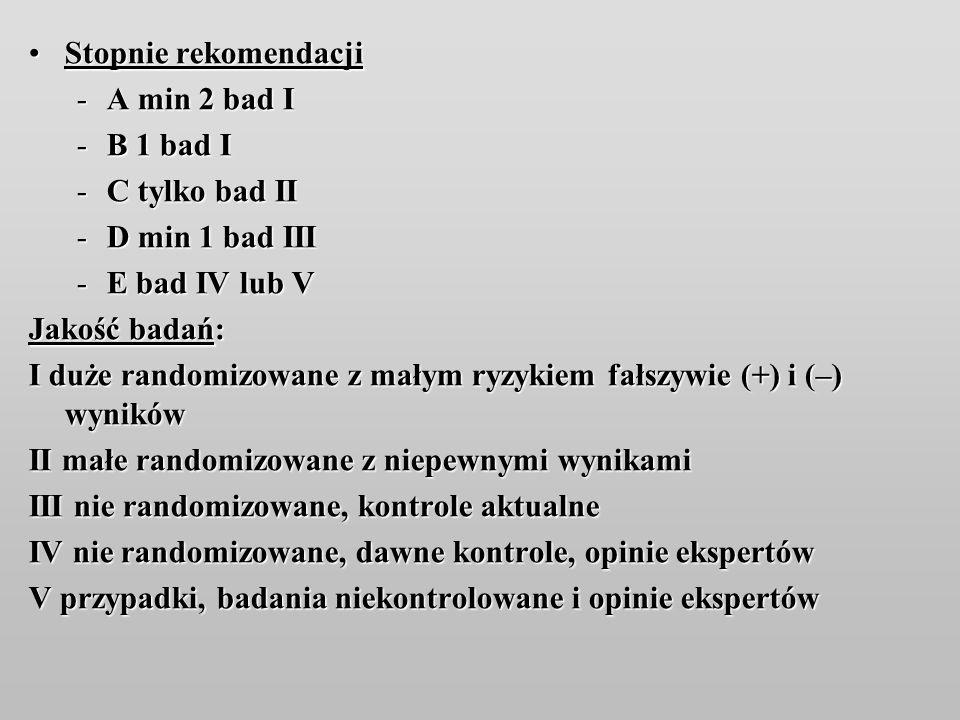 Stopnie rekomendacji A min 2 bad I. B 1 bad I. C tylko bad II. D min 1 bad III. E bad IV lub V.