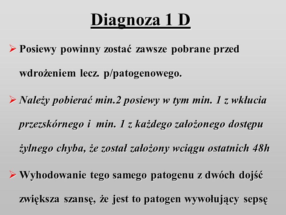 Diagnoza 1 D Posiewy powinny zostać zawsze pobrane przed wdrożeniem lecz. p/patogenowego.