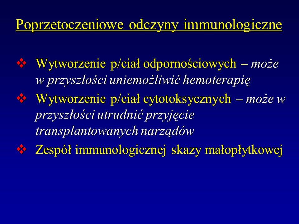 Poprzetoczeniowe odczyny immunologiczne