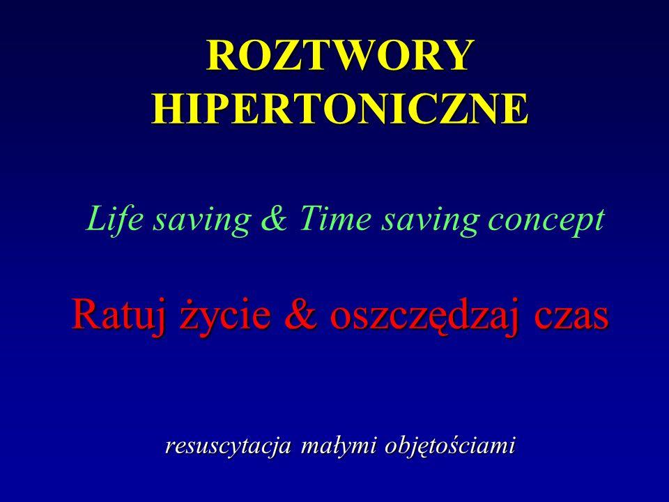 ROZTWORY HIPERTONICZNE Life saving & Time saving concept Ratuj życie & oszczędzaj czas resuscytacja małymi objętościami