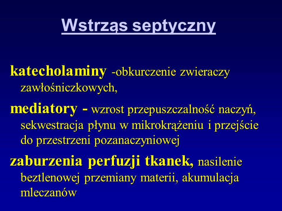 Wstrząs septyczny katecholaminy -obkurczenie zwieraczy zawłośniczkowych,