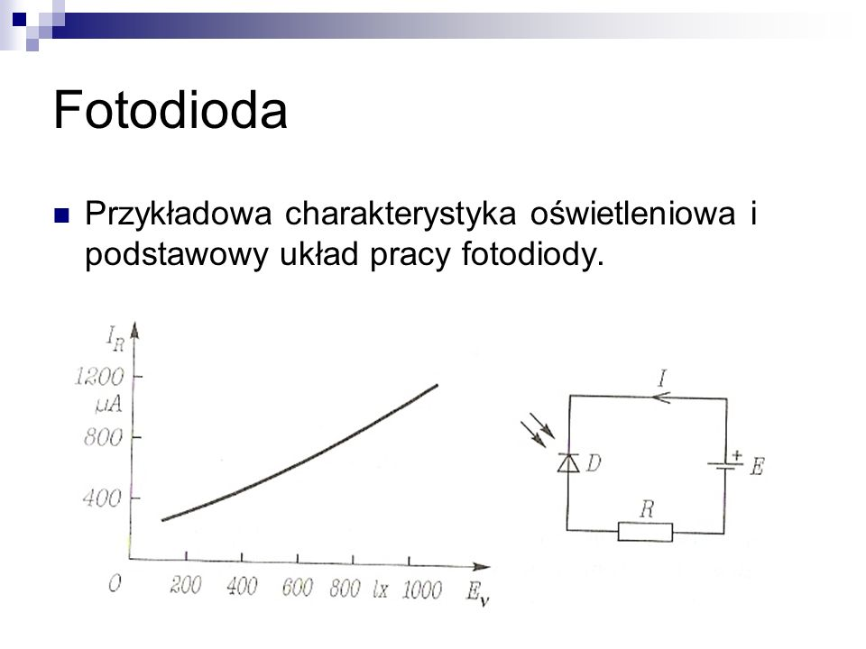 Fotodioda Przykładowa charakterystyka oświetleniowa i podstawowy układ pracy fotodiody.