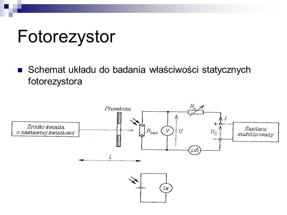Fotorezystor Schemat układu do badania właściwości statycznych fotorezystora