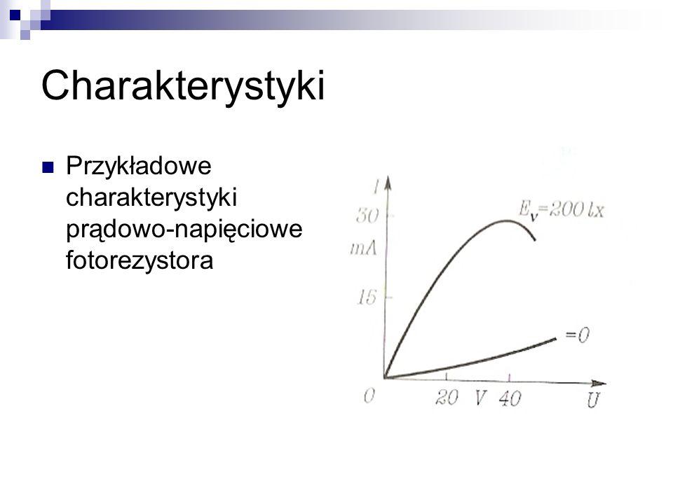 Charakterystyki Przykładowe charakterystyki prądowo-napięciowe fotorezystora