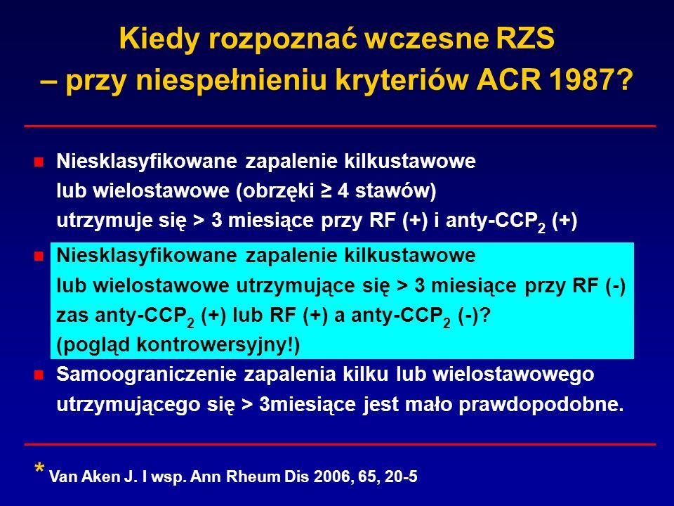 Kiedy rozpoznać wczesne RZS – przy niespełnieniu kryteriów ACR 1987