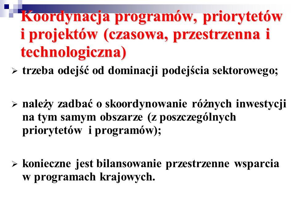 Koordynacja programów, priorytetów i projektów (czasowa, przestrzenna i technologiczna)