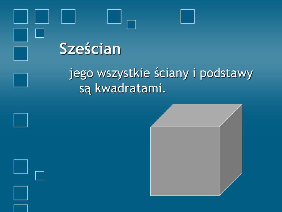 Sześcian jego wszystkie ściany i podstawy są kwadratami.