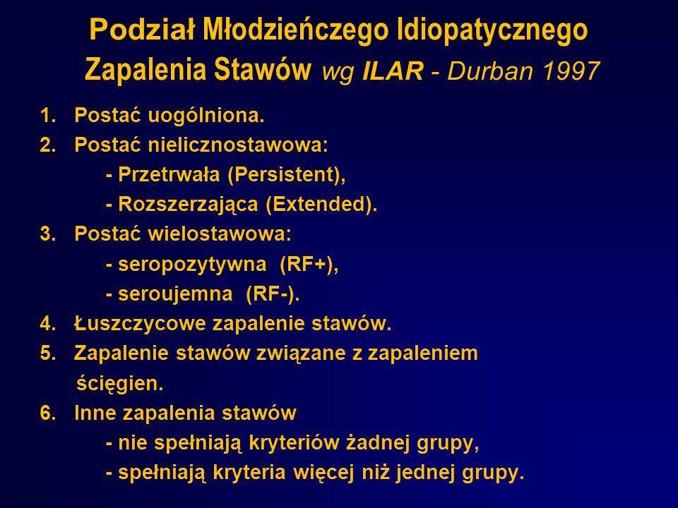 Podział Młodzieńczego Idiopatycznego Zapalenia Stawów wg ILAR - Durban 1997
