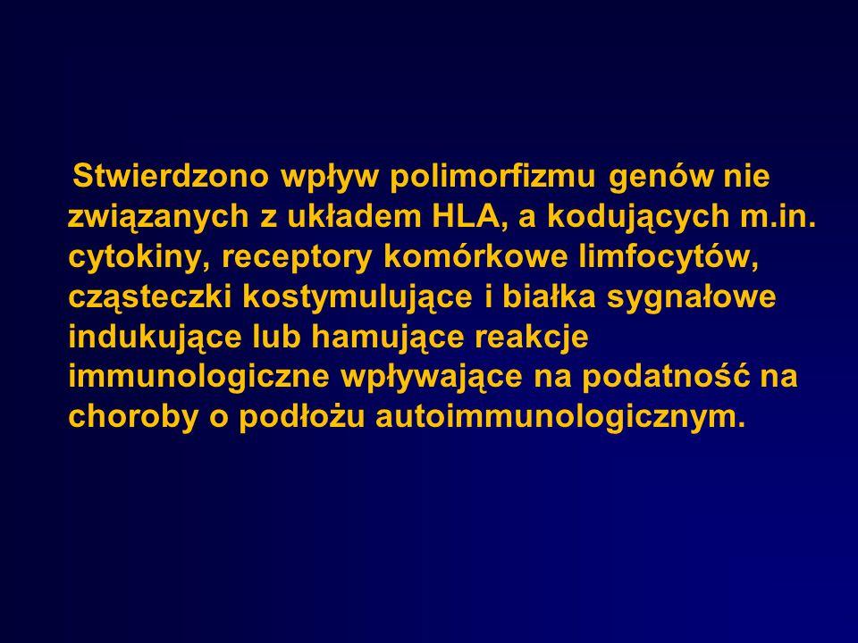 Stwierdzono wpływ polimorfizmu genów nie związanych z układem HLA, a kodujących m.in.