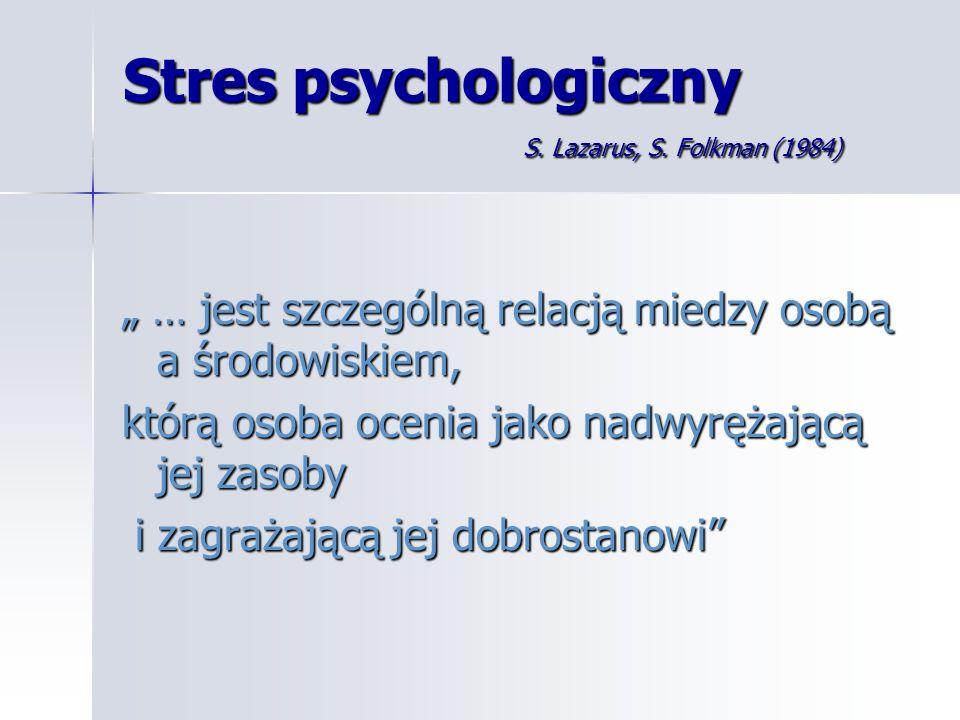 Stres psychologiczny S. Lazarus, S. Folkman (1984)