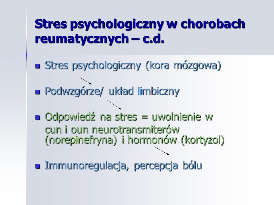 Stres psychologiczny w chorobach reumatycznych – c.d.