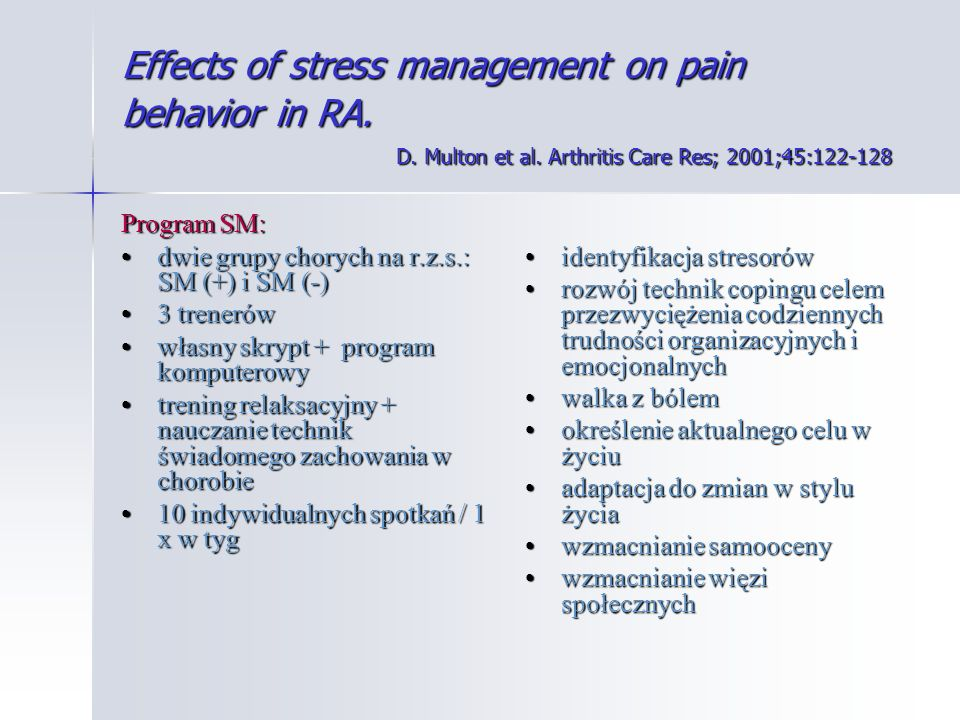 Effects of stress management on pain behavior in RA. D. Multon et al