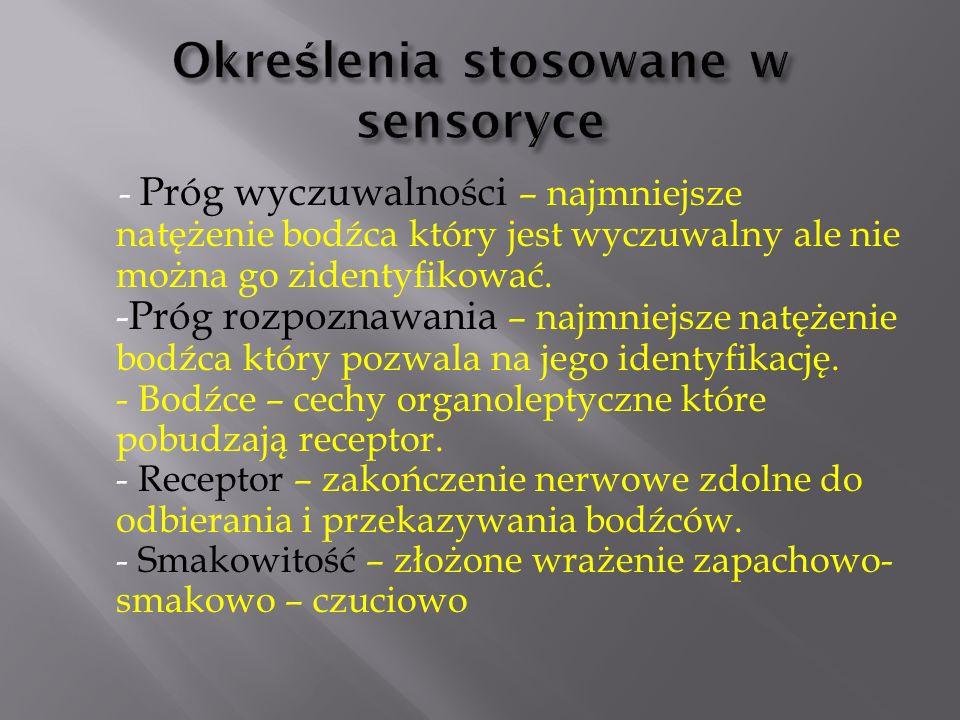 Określenia stosowane w sensoryce