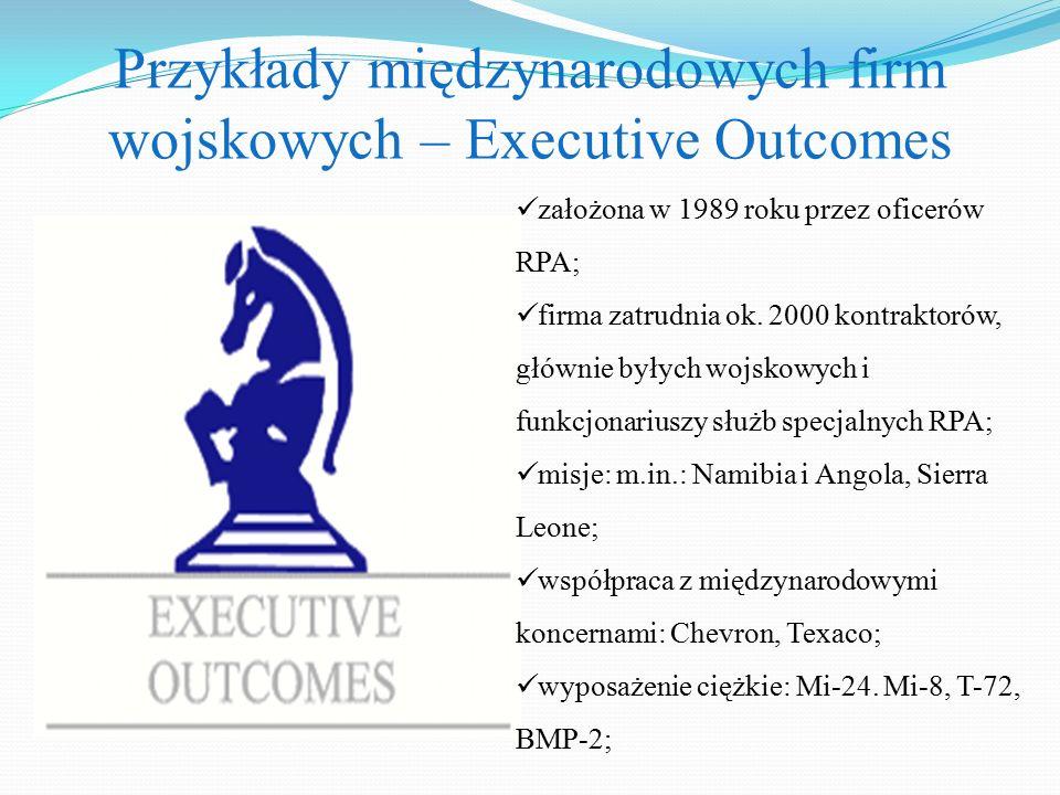 Przykłady międzynarodowych firm wojskowych – Executive Outcomes