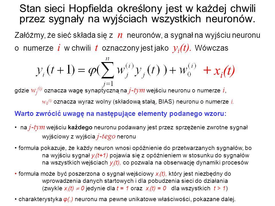 Stan sieci Hopfielda określony jest w każdej chwili przez sygnały na wyjściach wszystkich neuronów.