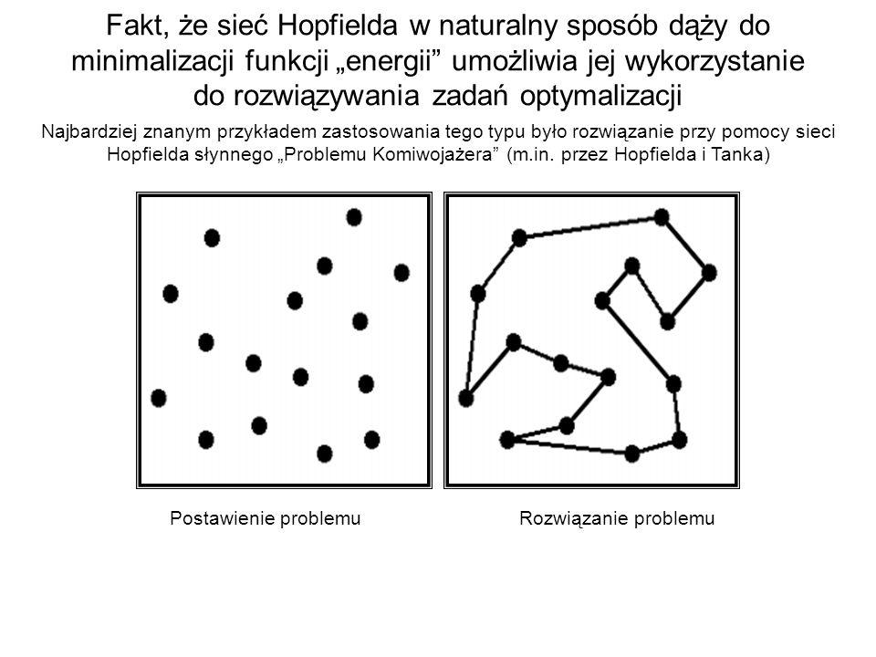 """Fakt, że sieć Hopfielda w naturalny sposób dąży do minimalizacji funkcji """"energii umożliwia jej wykorzystanie do rozwiązywania zadań optymalizacji"""