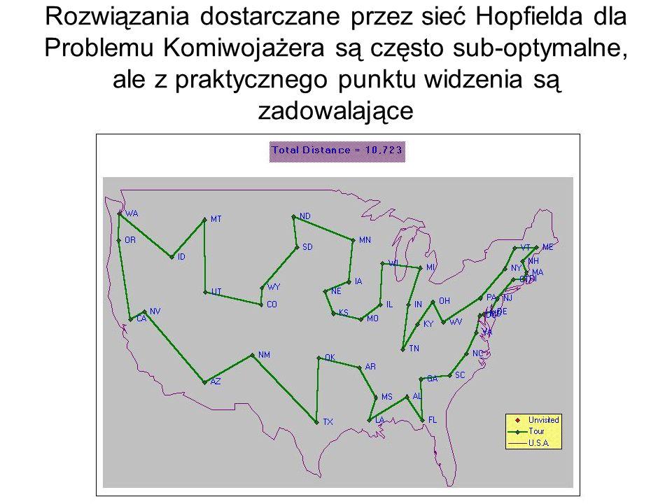 Rozwiązania dostarczane przez sieć Hopfielda dla Problemu Komiwojażera są często sub-optymalne, ale z praktycznego punktu widzenia są zadowalające