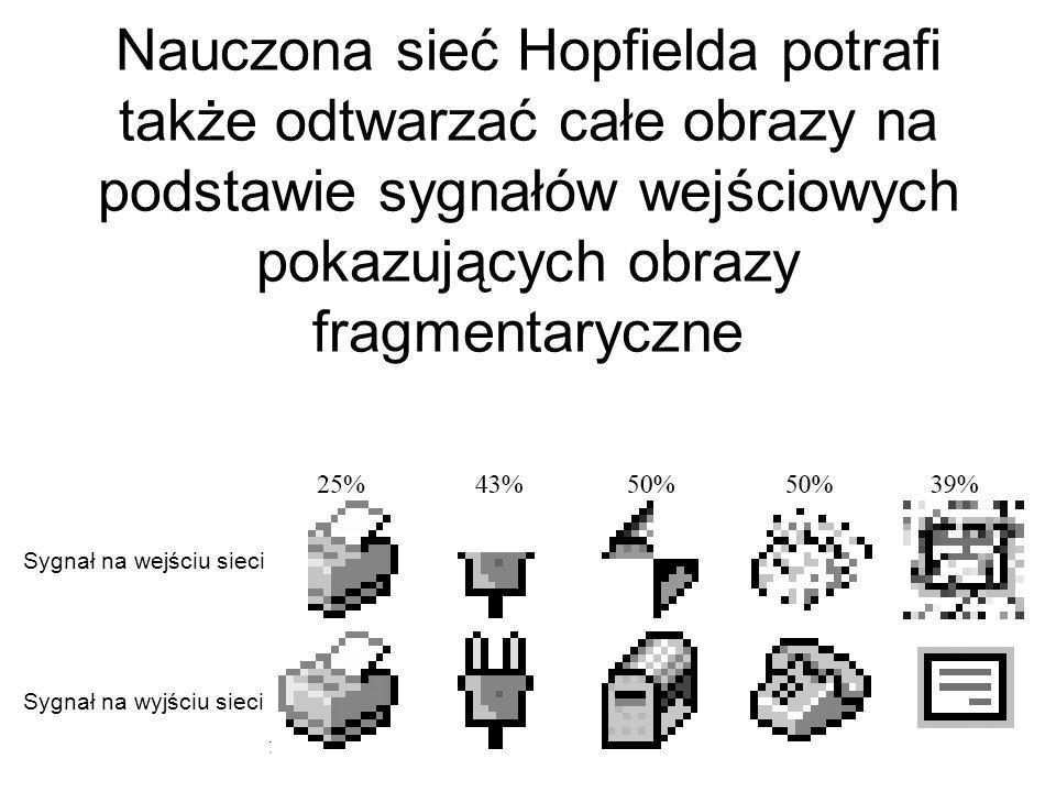 Nauczona sieć Hopfielda potrafi także odtwarzać całe obrazy na podstawie sygnałów wejściowych pokazujących obrazy fragmentaryczne