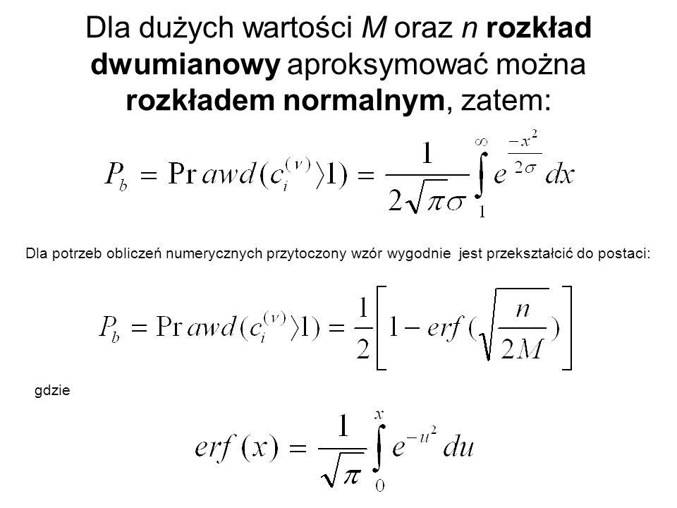 Dla dużych wartości M oraz n rozkład dwumianowy aproksymować można rozkładem normalnym, zatem: