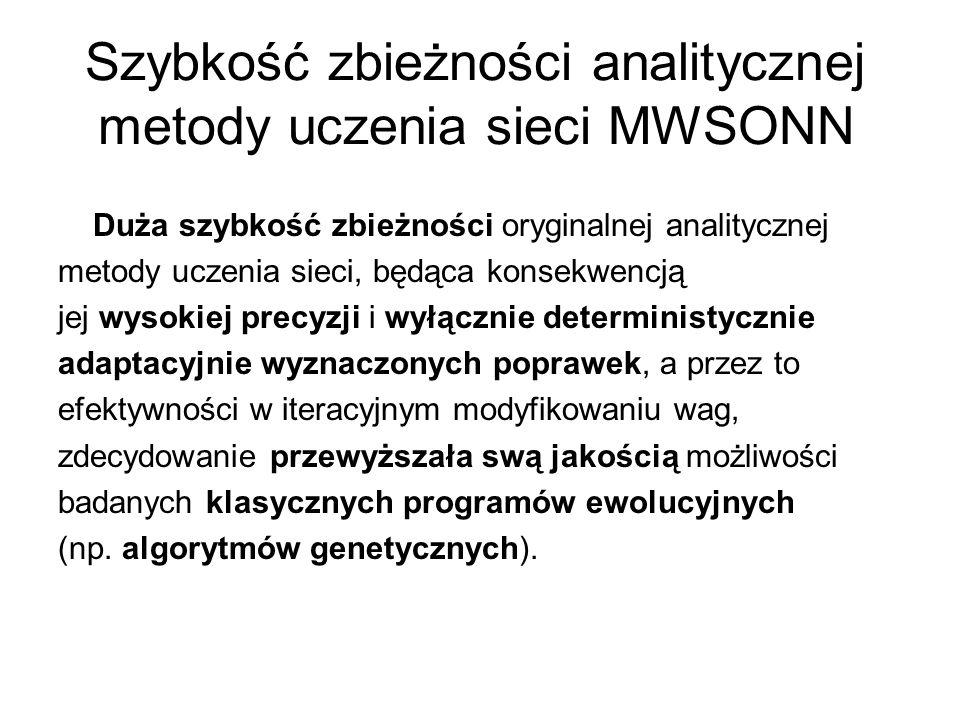 Szybkość zbieżności analitycznej metody uczenia sieci MWSONN