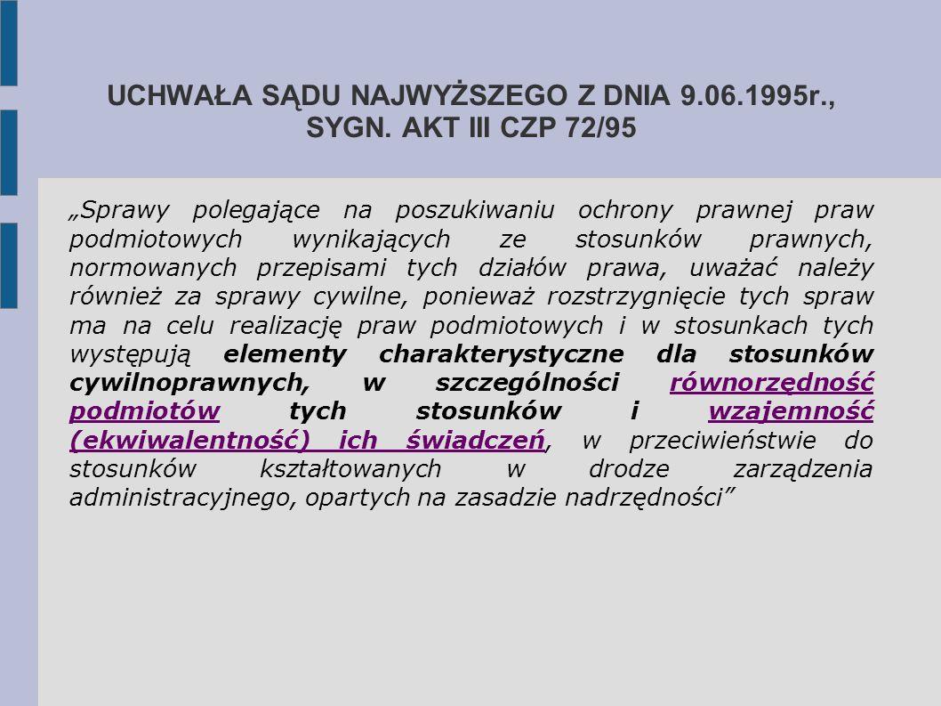 UCHWAŁA SĄDU NAJWYŻSZEGO Z DNIA 9.06.1995r., SYGN. AKT III CZP 72/95