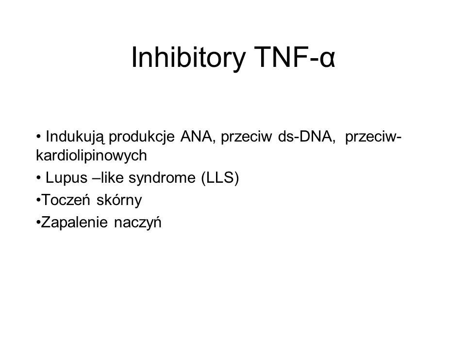 Inhibitory TNF-α Indukują produkcje ANA, przeciw ds-DNA, przeciw- kardiolipinowych. Lupus –like syndrome (LLS)