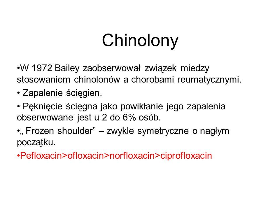 Chinolony W 1972 Bailey zaobserwował związek miedzy stosowaniem chinolonów a chorobami reumatycznymi.